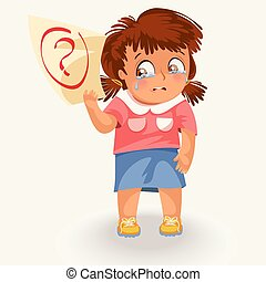 Crying schoolgirl with failed test