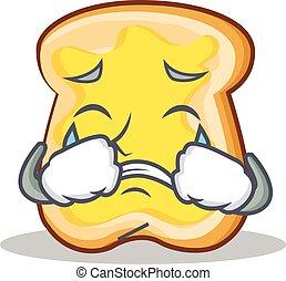 Crying slice bread cartoon character vector art illustration
