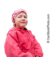 Crying small girl in red clothes