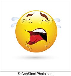 Creative Abstract Conceptual Design Art of Smiley Emoticons Face Vector - Crying Expression