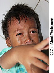 Crying - A little boy was crying.