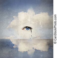 Crying - Fantasy concept of a human eye crying in the clouds...
