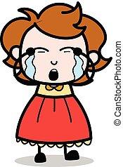 Crying - Teenager Cartoon Intelligent Girl Vector Illustration