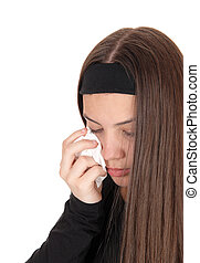Crying teenager girl with long brunette hair