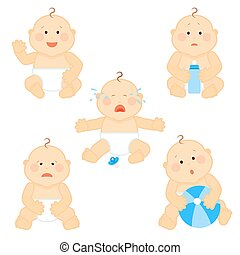 Crying vector baby toddler with milk bottle isolated on white background