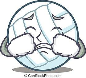 Crying volley ball character cartoon vector illustration