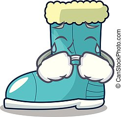 Crying winter boot on the character rak vector illustration