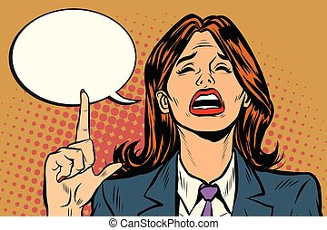 crying woman pointing up comic bubble