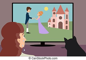 crying woman watching romantic movie cartoon