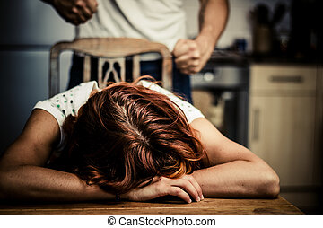Crying woman with abusive partner behind her
