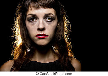 smeared make-up by crying tears on a noir style sad woman