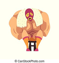 Crying wrestler sitting on small chair. Strong muscular man ...
