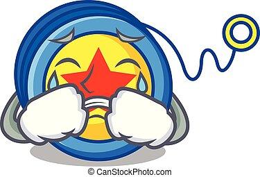 Crying yoyo mascot cartoon style vector illustration
