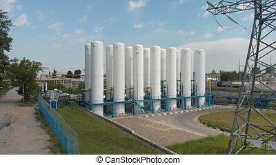 Cryogenic tanks. Liquid oxygen plant, tanks and heat...