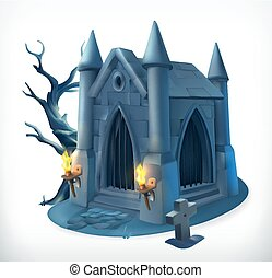 Crypt. Happy Halloween, 3d vector icon
