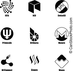 Crypt icons set, simple style - Crypt icons set. Simple set...