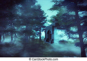 crypte, 3d, forêt