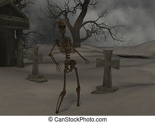 crypte, marche, nuit, squelette, spooky