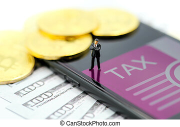 crypto, επιχειρηματίας , άνθρωποι , bitcoin, χαρτονομίσματα , ψηφιακός , φορολογώ , μήνυμα , νόμοs , μινιατούρα , χρήματα , δολλάρια , γενική ιδέα , :