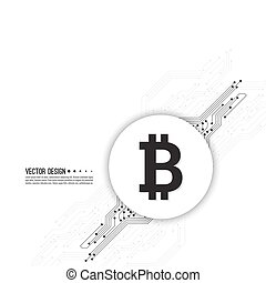 Crypto Bitcoin. - Abstract background with high tech circuit...