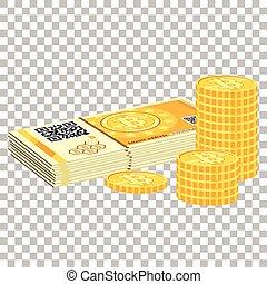 Crypto bitcoin and coins - Crypto bitcoin concept. Paper ...
