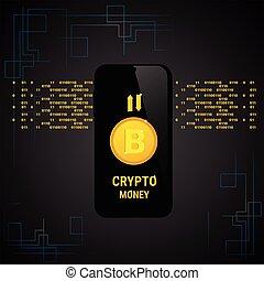 Crypto Bitcoin Banner Smart Phone Digital Web Money Concept