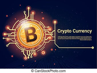 Crypto Bitcoin Banner With Place For Text Digital Web Money Concept