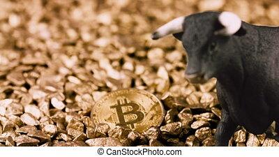 crypto, bitcoin, marché, concept, taureau
