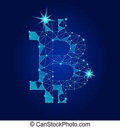 Crypto bitcoin. Net banking mining future technology vector...
