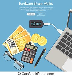 Crypto bitcoin technology concept. Hardware cryptocurrency...