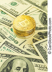 Crypto coins against US dollar bills, golden bitcoin with dollar banknotes business crypto background photo