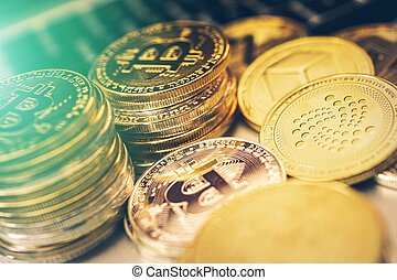 Crypto Coins Closeup. Bitcoin and Other Cryptocurrency Coins...