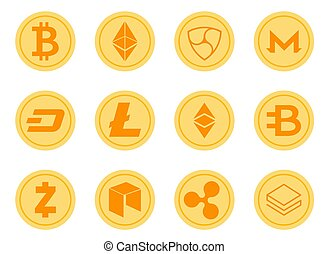 Crypto Coins Icons Set.