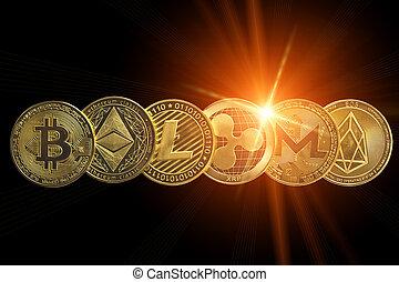 Crypto coins islolated on black with lens flair .Blockchain ...