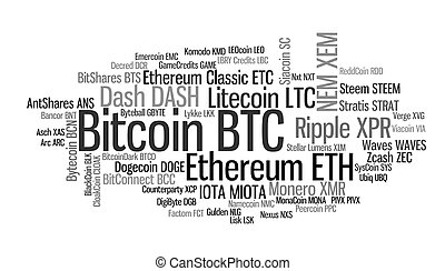 Crypto currencies word cloud - Crypto-currencies with a ...