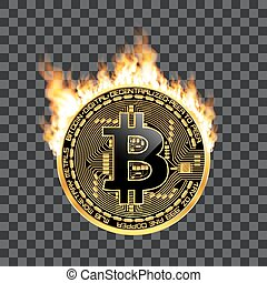 Crypto currency bitcoin golden symbol on fire - Crypto...
