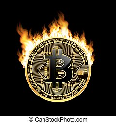 Crypto currency bitcoin golden symbol on fire - Crypto ...