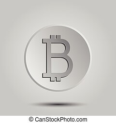 Crypto currency Bitcoin vector logo, icon for web, sticker for print. Bitcoin blockchain cryptocurrency.