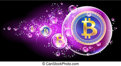 Crypto currency coins bitcoin in soap bubble. The concept of...