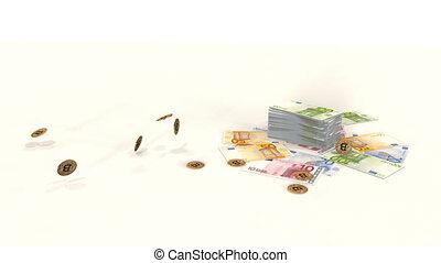 A bitcoin with euro bills.