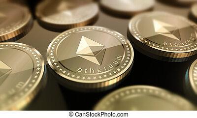 crypto-currency, ethereum, brillant, fond