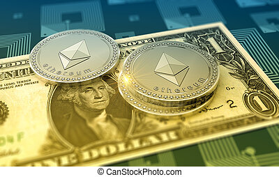 crypto-currency, ethereum, brillante, plano de fondo
