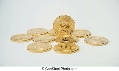 Crypto currency Gold Bitcoin - BTC - Bit Coin. Macro shots crypto currency Bitcoin coins. Reflection of light in a coin.