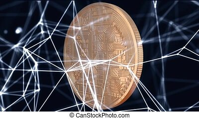 Crypto currency Gold Bitcoin - BTC - Bit Coin. Macro shots crypto currency Bitcoin coins rotating on the background of plexus particles. Seamless looping.