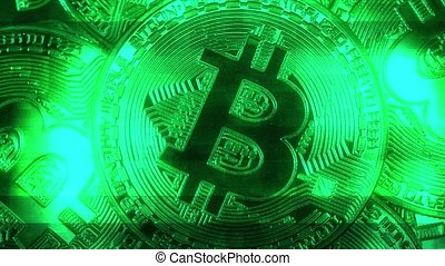 Crypto currency Gold Bitcoin - BTC - Bit Coin. Macro shots...