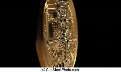 Crypto currency Gold Bitcoin - BTC - Bit Coin. Rotating on...
