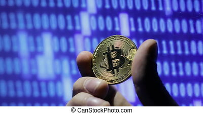 Crypto currency Gold Bitcoins - BTC - Bit Coin. - hand...