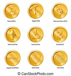 Crypto currency icons coin.