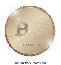 Crypto currency logo gold, silver, bronze coin: Bitcoin cash...