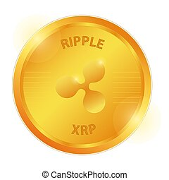 Crypto currency logo gold, silver, bronze coin: Ripple, ...